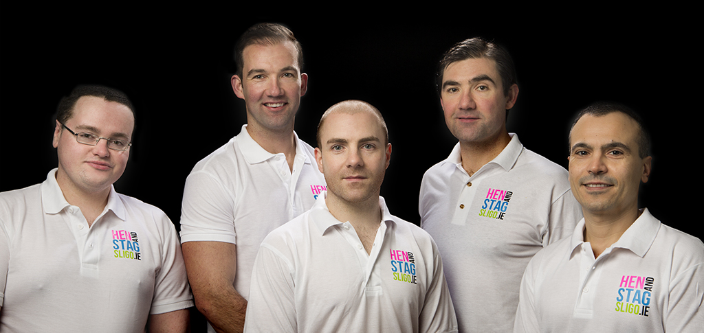 The Hen and Stag Sligo Team: Shane, Fergal, Ciaran, Kevin, Mitko