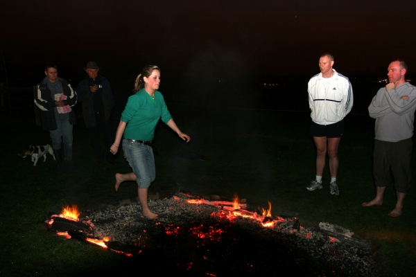Woman firewalking
