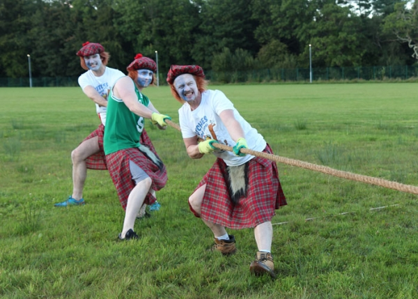 Lads playing Highland Games