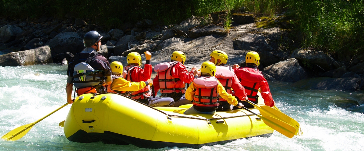 white water rafting on river
